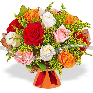 Autumn Kiss - bouquet of multicolored roses and solidago